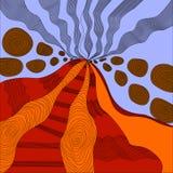 El zen coloreado del arte, un volcán activo, lava entra en erupción y las rocas, un ex ilustración del vector