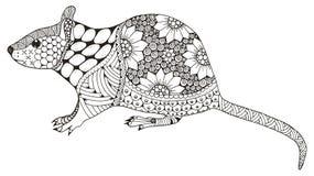 El zentangle chino de la muestra del zodiaco de la rata estilizó, ejemplo del vector, Foto de archivo libre de regalías