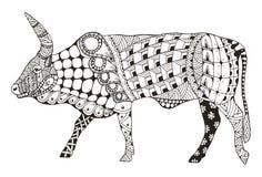 El zentangle chino de la muestra del zodiaco del buey estilizó, ejemplo del vector, Imagen de archivo libre de regalías