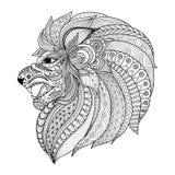 El zentangle detallado estilizó el león para el gráfico de la camiseta, páginas para el adulto, tarjetas del libro de colorear, t Imágenes de archivo libres de regalías