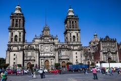 El Zocalo在墨西哥城,有大教堂墨西哥ci的 免版税库存照片