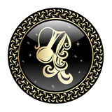 El zodiaco del acuario firma adentro el marco del círculo libre illustration
