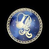 El zodiaco del acuario firma adentro el marco del círculo ilustración del vector
