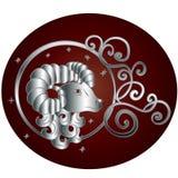 El zodiaco del aries firma adentro el marco del círculo ilustración del vector