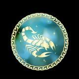 El zodiaco del escorpión firma adentro el marco del círculo ilustración del vector