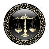El zodiaco del libra firma adentro el marco del círculo stock de ilustración
