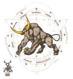 El zodiaco del tauro firma adentro el círculo del zodiaco con la designación de 12 muestras del zodiaco libre illustration