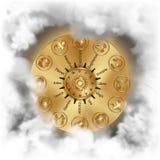 El zodiaco firma el círculo del oro Foto de archivo