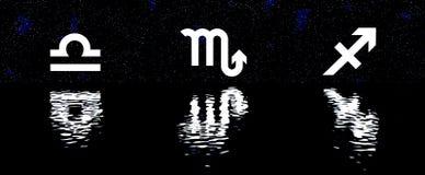 el zodiaco 12 firma encima el sistema del horóscopo del agua Imagen de archivo libre de regalías