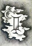 El zodiaco firma a géminis Mano dibujada con el cepillo de la tinta Ilustración del vector Foto de archivo