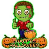 El zombi quiere un feliz Halloween en un fondo blanco aislado Foto de archivo