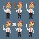 El zombi sostiene el cuchillo del hueso del bastón de la bandera Imágenes de archivo libres de regalías