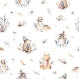 El zorro lindo del bebé, el conejo del cuarto de niños de los ciervos y el oso animales aislaron el ejemplo para los niños Boho d libre illustration
