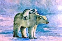 Ela-urso branco com o filhote no gelo Aquarela do desenho no papel Arte ingénua Aquarela da pintura no papel ilustração royalty free
