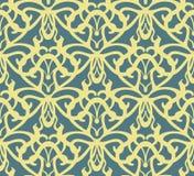 Elabora o teste padrão sem emenda do vintage dourado no fundo azul Imagens de Stock Royalty Free