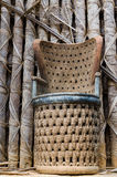 Elaborate African wood carved chair at traditional Fon`s palace in Bafut, Cameroon, Africa.  Stock Images