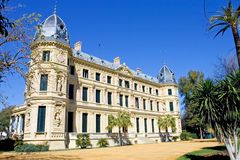 Elaborate building of Jerez riding school in spain. Elaborate and ornate architecture and building of Jerez horse riding school in Spain Royalty Free Stock Photo