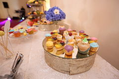Elaborate candy bar at wedding reception Royalty Free Stock Images