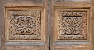 Elaborate carved wooden doors of Cathedral of St Catherine royalty free stock image