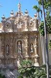 Elaborate Churrigueresque ornamentation. Of Spanish Baroque style on Casa del Prado in Balboa Park,San Diego Royalty Free Stock Photography