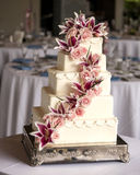Elaborate five tiered wedding cake. With flowers Royalty Free Stock Image