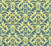 Elaborate golden vintage seamless pattern on blue background Royalty Free Stock Images