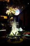 Elaborate ice sculpture at a wedding reception Stock Photos