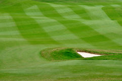 Elaborate lawn of golf court. Part of golf field, with elaborate maintenance grass land, green strip, and a sand bunker Royalty Free Stock Photography