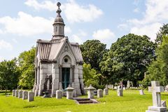 Elaborate Mausoleum in 19th Century Cemetery Royalty Free Stock Images