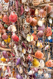 Elaborate Sea Shell Wall hanging. A colourful elaborate wall hanging made from many colorful sea shells, for sale on Thassos, a Greek Island, Greece Royalty Free Stock Photography