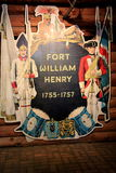 Elaborate sign at entrance to Fort William Henry,important landmark during war,Lake George,New York,2015 Royalty Free Stock Photo