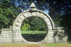 Elaborate stone fence in Newport RI Stock Images