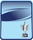 Elaborate trophy on blue backdrop Royalty Free Stock Photos