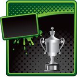Elaborate trophy on halftone green and black ad Royalty Free Stock Photos