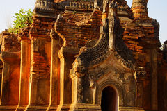 Elaborately carved doorway of  ancient Buddhist stupa Royalty Free Stock Photography