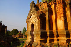Elaborately carved doorway of  ancient Buddhist stupa Stock Photo