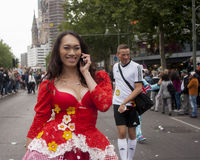 Elaborately dressed participant, during Christopher Street Day P Royalty Free Stock Photography