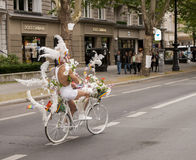 Elaborately dressed participant riding bike, during Christopher Royalty Free Stock Photo