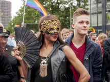 Elaborately dressed participants, during Christopher Street Day Stock Photo