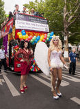 Elaborately dressed participants during gay pride parade Stock Images