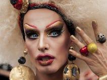 Elaborately dressed transgender, during Christopher Street Day P Stock Image