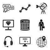 Elaboration icons set, simple style. Elaboration icons set. Simple set of 9 elaboration vector icons for web isolated on white background Royalty Free Stock Photos