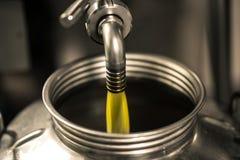 Elaborazione dell'olio d'oliva in un'azienda agricola moderna Fotografia Stock