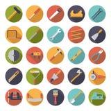 Elaborazione della raccolta piana delle icone di vettore di progettazione degli strumenti Immagine Stock Libera da Diritti