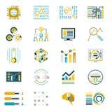 Elaborazione dello stoccaggio di grandi icone del volume di dati Immagine Stock