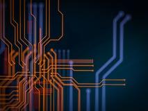 Elaborazione di codice lato server futuristica del circuito Fondo arancio, verde, blu di tecnologia con bokeh illustrazione 3D Fotografie Stock
