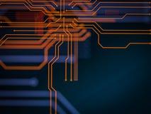 Elaborazione di codice lato server futuristica del circuito Fondo arancio, verde, blu di tecnologia con bokeh illustrazione 3D Fotografie Stock Libere da Diritti