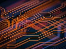 Elaborazione di codice lato server futuristica del circuito Fondo arancio, verde, blu di tecnologia con bokeh illustrazione 3D Immagini Stock Libere da Diritti