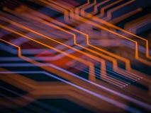 Elaborazione di codice lato server futuristica del circuito Fondo arancio, verde, blu di tecnologia con bokeh illustrazione 3D Fotografia Stock Libera da Diritti