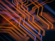 Elaborazione di codice lato server futuristica del circuito Fondo arancio, verde, blu di tecnologia con bokeh illustrazione 3D Immagine Stock Libera da Diritti